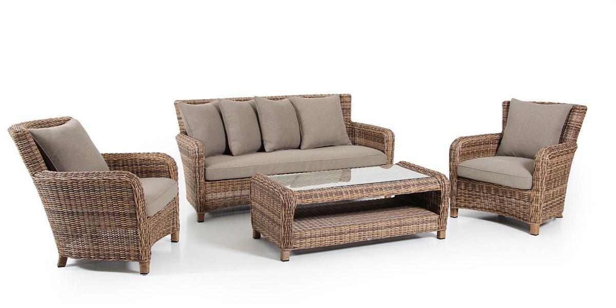 Комплект плетеной мебели Venus brownПлетеная мебель из искусственного ротанга<br>Размер: Софа: 169х90 В81; Кресло: 77х90 В81; Стол: 120х60 В45<br><br>Артикул: Софа 10533-62-23, стол  10536-62, кресло 10531-62-23<br>Материалы: Искусственный ротанг, высокопрочное стекло<br>Каркас: Алюминиевый<br>Полный размер: Софа: 169х90 В81; Кресло: 77х90 В81; Стол: 120х60 В45<br>Наполнитель: ППУ высокой плотности (Пенополиуретан)<br>Комплектация: Софа, стол, кресло 2 шт, подушки<br>Цвет: Коричневый<br>Изготовление и доставка: 2-3 дня<br>Условия доставки: Бесплатная по Москве до подъезда<br>Условие оплаты: Оплата наличными при получении товара<br>Гарантия: 12 месяцев<br>Производство: Швеция<br>Производитель: Brafab