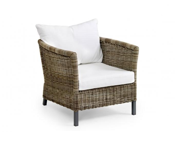 Плетеное кресло EstelleПлетеная мебель из искусственного ротанга<br>Размер: 74х85 В63<br><br>Артикул: 10661-21<br>Материалы: Искусственный ротанг<br>Каркас: Алюминиевый<br>Полный размер: 74х85 В63<br>Наполнитель: ППУ высокой плотности (пенополиуретан)<br>Комплектация: Подушки<br>Цвет: Ротанг-натуральный (цвет), Ткань-бежевая<br>Изготовление и доставка: 2-3 дня<br>Условия доставки: Бесплатная по Москве до подъезда<br>Условие оплаты: Оплата наличными при получении товара<br>Производство: Швеция<br>Производитель: Brafab