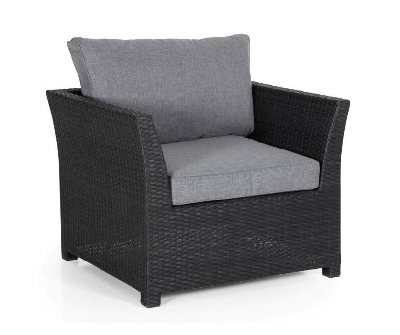 Плетеное кресло Madison blackПлетеная мебель из искусственного ротанга<br>Размер: 94х80 В69<br><br>Артикул: 2411-8-71<br>Материалы: Искусственный ротанг<br>Каркас: Алюминиевый<br>Полный размер: 94х80 В69<br>Наполнитель: ППУ высокой плотности (пенополиуретан)<br>Комплектация: Подушки<br>Цвет: Ротанг-черный, Ткань-бежевая<br>Изготовление и доставка: 2-3 дня<br>Условия доставки: Бесплатная по Москве до подъезда<br>Условие оплаты: Оплата наличными при получении товара<br>Гарантия: 12 месяцев<br>Производство: Швеция<br>Производитель: Brafab