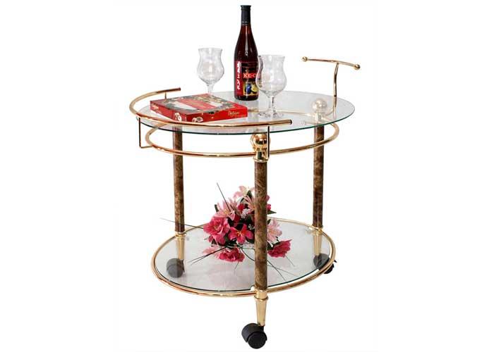 Стол сервировочный 4016Обеденные столы<br>Размер: 75х51 В77<br><br>Материалы: Металл с покрытием под золото (анодирование желтого цвета)<br>Каркас: Металлический<br>Полный размер: 75х51 В77<br>Вес товара (кг): 11,7<br>Комплектация: 5мм прозрачное термостойкое стекло  с 5мм зеркальной добавкой, 3 колесика<br>Изготовление и доставка: 2-3 дня<br>Условия доставки: Бесплатная по Москве до подъезда<br>Условие оплаты: Оплата наличными при получении товара<br>Подъем на лифте: 300 руб.<br>Гарантия: 12 месяцев<br>Производство: Китай
