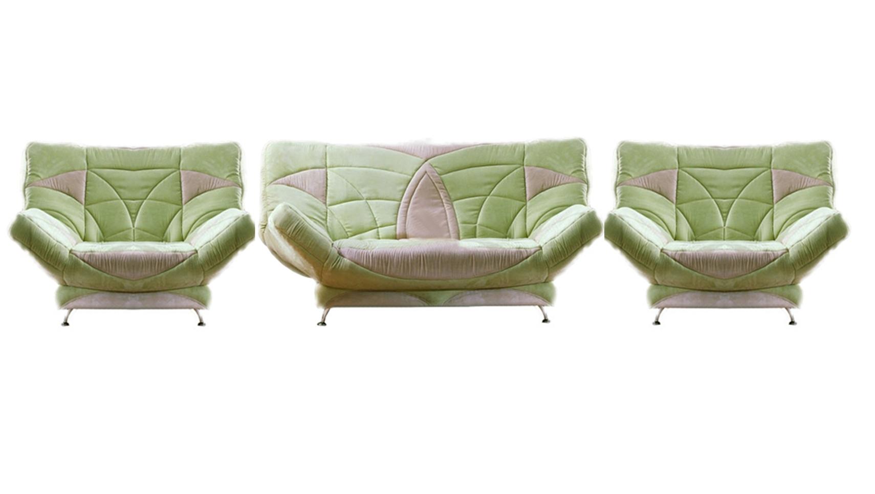 Комплект мягкой мебели Весна 3+1+1Комплекты мягкой мебели<br>Размер: диван: 210х105 В103 (сп. м. 140х210); кресло: 140х105 В103 (сп. м. 135х200)<br><br>Механизм: Клик-кляк<br>Каркас: Металлический<br>Полный размер: 210х105 В103<br>Спальное место: 140х210<br>Размер кресла: 140х105 В103<br>Спальное место кресла: 135х200<br>Наполнитель: ППУ высокой плотности (Пенополиуретан)<br>Комплектация: Ящик для белья<br>Примечание: Стоимость указана по минимальной категории ткани<br>Изготовление и доставка: 14-16 дней<br>Условия доставки: Бесплатная по Москве до подъезда<br>Условие оплаты: Оплата наличными при получении товара<br>Подъем на грузовом лифте: 1750 руб.<br>Сборка: 600 руб.<br>Гарантия: 12 месяцев<br>Производство: Россия<br>Производитель: Фиеста
