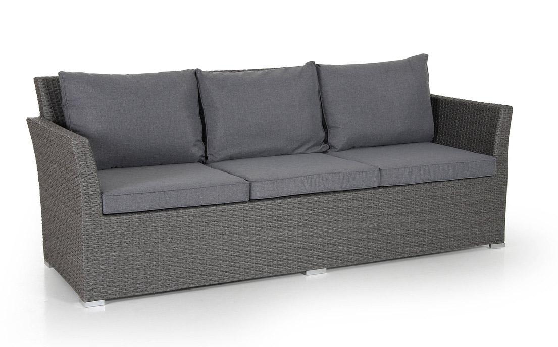 Плетеный диван CallasПлетеная мебель из искусственного ротанга<br>Размер: 215х80 В85<br><br>Артикул: 6603-79-71<br>Материалы: Искусственный ротанг<br>Каркас: Алюминиевый<br>Полный размер: 215х80 В85 (3-х местный)<br>Наполнитель: ППУ высокой плотности (Пенополиуретан)<br>Комплектация: Подушки<br>Цвет: Ротанг-серый, Ткань-серая<br>Изготовление и доставка: 2-3 дня<br>Условия доставки: Бесплатная по Москве до подъезда<br>Условие оплаты: Оплата наличными при получении товара<br>Производство: Швеция<br>Производитель: Brafab