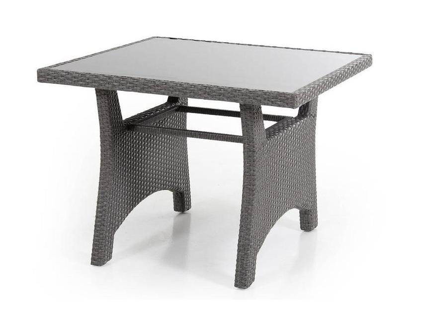 Плетеный стол из ротанга Callas-2Плетеная мебель из искусственного ротанга<br>Размер: 90х90 В68<br><br>Артикул: 6607-79<br>Материалы: Искусственный ротанг, высокопрочное стекло<br>Каркас: Алюминиевый<br>Полный размер: 90х90 В68<br>Цвет: Серый<br>Изготовление и доставка: 2-3 дня<br>Условия доставки: Бесплатная по Москве до подъезда<br>Условие оплаты: Оплата наличными при получении товара<br>Производство: Швеция<br>Производитель: Brafab