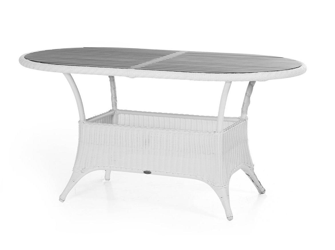 Плетеный стол овальный Magda whiteПлетеная мебель из искусственного ротанга<br>Размер: 150х90 В72.5<br><br>Артикул: 6806-5-7<br>Материалы: Искусственный ротанг, столешница-пластик nonwood<br>Каркас: Алюминиевый<br>Полный размер: 150х90 В72.5<br>Цвет: Белый<br>Изготовление и доставка: 2-3 дня<br>Условия доставки: Бесплатная по Москве до подъезда<br>Условие оплаты: Оплата наличными при получении товара<br>Гарантия: 12 месяцев<br>Производство: Швеция<br>Производитель: Brafab