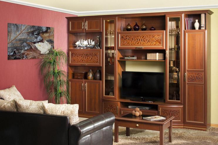 Любимый дом Модульная стенка в гостиную Александрия №2 любимый дом шкаф комбинированный берта 643 120 орех лугано