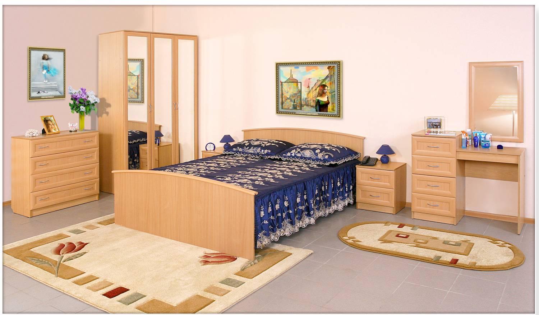 Спальня Арина-1Спальни<br>Комплектация: шкаф 3-дверный, двуспальная кровать, стол туалетный, комод, тумба с 2 ящиками (2шт.).Пано: 500х20х800<br><br>Материалы: ЛДСП, рамка МДФ<br>Комплектация: Матрас входит в стоимость<br>Примечание: Доставляется в разобранном виде. Ручки пластиковые в цвет мебели!<br>Изготовление и доставка: 8-10 дней<br>Условия доставки: Бесплатная по Москве до подъезда<br>Условие оплаты: Оплата наличными при получении товара<br>Доставка по МО (за пределами МКАД): 30 руб./км<br>Доставка в пределах ТТК: Доставка в центр Москвы осуществляется ночью, с 22.00 до 6.00 утра<br>Подъем на грузовом лифте: 1600 руб.<br>Подъем без лифта: 800 руб./этаж<br>Сборка: 10% от стоимости изделия<br>Гарантия: 12 месяцев<br>Производство: Россия<br>Производитель: Mebelus