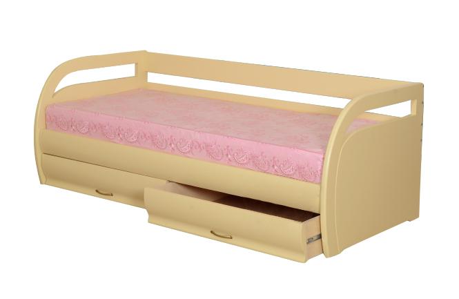 Детская кровать ЭлегияДетские кровати<br>Размер: 70/80/90х190/200<br><br>Материалы: Массив - Сосна / Бук / Дуб<br>Полный размер (ШхДхВ): 78,5х197/207х72<br>Спальное место: 70/80/90х190/200<br>Высота сиденья (см): 50 см. при высоте матраса 20 см.<br>Вес товара (кг): Сосна 57 / Бук 71 / Дуб 76; объем 0,50 куба<br>Комплектация: Два выдвыжных ящика<br>Примечание: Матрас в стоимость не входит<br>Изготовление и доставка: 30 рабочих дней<br>Условия доставки: Доставка по Москве включена в стоимость изделия<br>Условие оплаты: Оплата наличными при получении товара<br>Доставка по МО (за пределами МКАД): 30 руб./км<br>Доставка в пределах ТТК: Доставка в центр Москвы осуществляется ночью, с 22.00 до 6.00 утра<br>Подъем на грузовом лифте: 500 руб.<br>Подъем без лифта: 250 руб./этаж, включая первый<br>Сборка: 1000 руб.<br>Гарантия: 12 месяцев<br>Производство: Россия<br>Производитель: Фокин