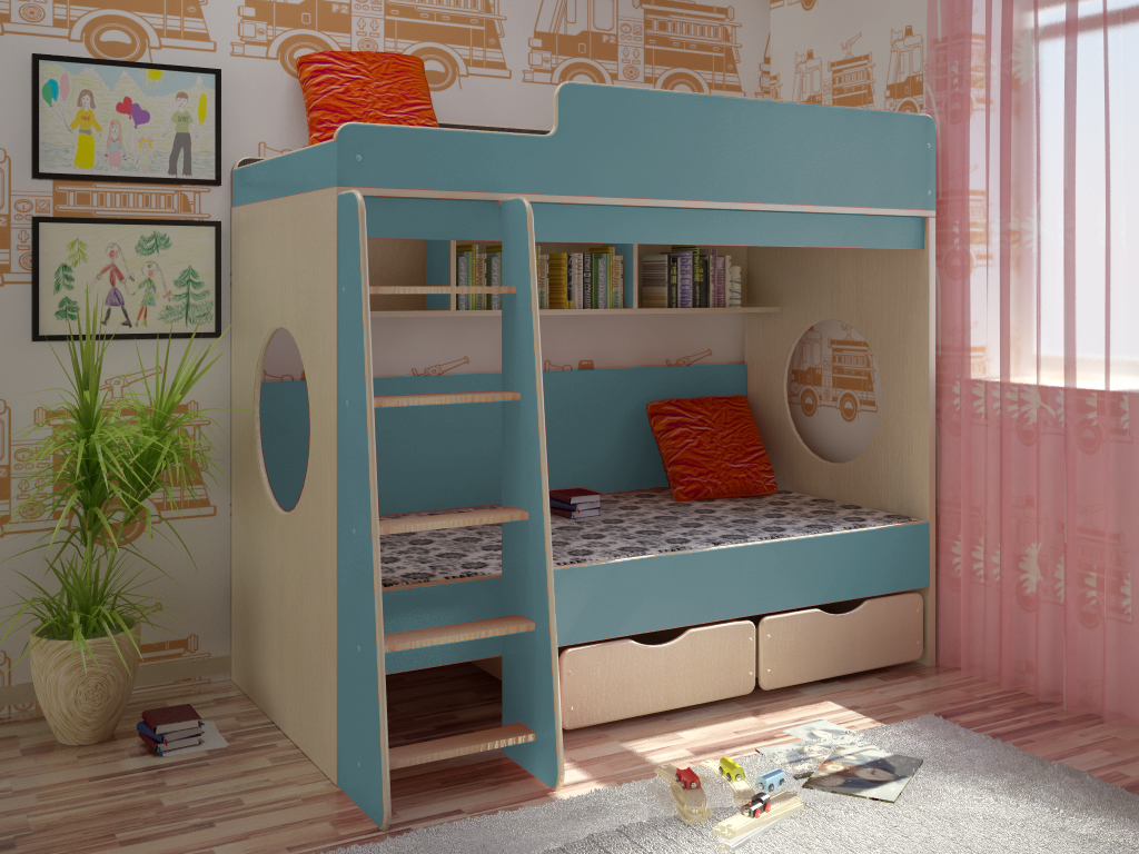 Детская комната Сказка-7 BlueДетские комнаты<br>Размер: 1950х850х1720 (сп. м. 800х1900)<br><br>Материалы: ЛДСП, кромка ПВХ<br>Полный размер: 1950х850х1720<br>Спальное место: 800х1900<br>Цвет: По фото: Дуб Молочный/Голубой<br>Примечание: Доставляется в разобранном виде<br>Изготовление и доставка: 8-10 дней<br>Условия доставки: Бесплатная по Москве до подъезда<br>Условие оплаты: Оплата наличными при получении товара<br>Подъем на грузовом лифте: 700 руб.<br>Подъем без лифта: 350 руб./этаж, включая первый<br>Сборка: 10% от стоимости изделия<br>Гарантия: 12 месяцев<br>Производство: Россия<br>Производитель: Баронс Групп