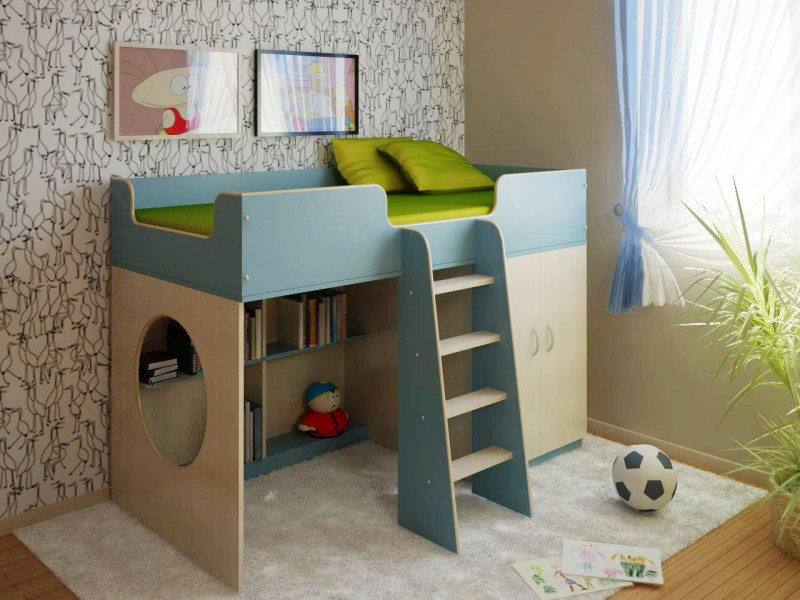 Детская мебель Сказка-2 BlueДетские комнаты<br>Размер: 1640х840х1120 (сп. м. 800х1600)<br><br>Материалы: ЛДСП, кромка ПВХ<br>Полный размер: 1640х840х1120<br>Спальное место: 800х1600<br>Цвет: По фото: Дуб Молочный/Голубой<br>Примечание: Доставляется в разобранном виде<br>Изготовление и доставка: 3-5 дней<br>Условия доставки: Бесплатная по Москве до подъезда<br>Условие оплаты: Оплата наличными при получении товара<br>Подъем на грузовом лифте: 700 руб.<br>Подъем без лифта: 350 руб./этаж<br>Сборка: 10% от стоимости изделия<br>Гарантия: 12 месяцев<br>Производство: Россия