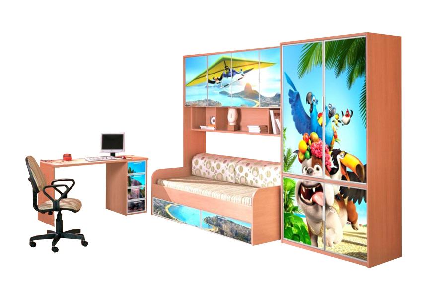 Детская В гостях у сказки-8Детские комнаты<br>Размер: 2300х2200х700<br><br>Материалы: ЛДСП, кромка ПВХ, фасад с фотопечатью<br>Полный размер (ДхВхГ): 2300х2200х700<br>Комплектация: Матрас в стоимость не входит<br>Примечание: Доставляется в разобранном виде<br>Изготовление и доставка: 8-10 дней<br>Условия доставки: Бесплатная по Москве до подъезда<br>Условие оплаты: Оплата наличными при получении товара<br>Доставка по МО (за пределами МКАД): 30 руб./км<br>Доставка в пределах ТТК: Строго после 22:00 (центр Москвы)<br>Подъем на грузовом лифте: 700 руб.<br>Подъем без лифта: 350 руб./этаж<br>Сборка: 10% от стоимости изделия<br>Гарантия: 12 месяцев<br>Производство: Россия<br>Производитель: Mebelus