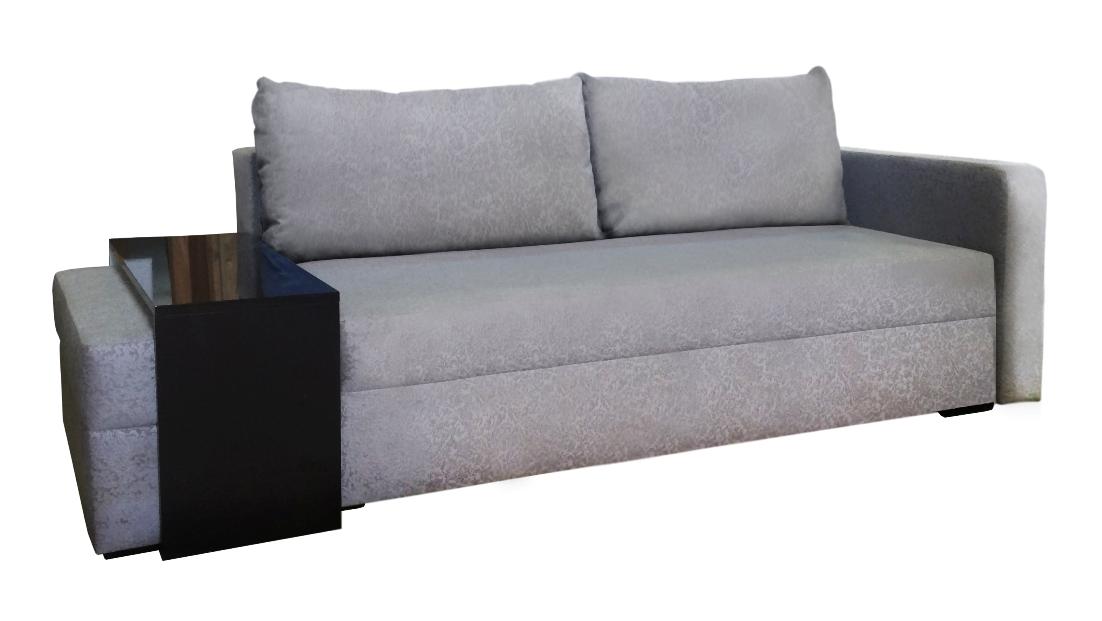 Диван еврокнижка Эштон с пуфомДиваны еврокнижка<br>Диван еврокнижка Эштон с пуфом прекрасно подойдет для интерьера в стиле лофт, минимализм или хай-тек. Это очень удобный диван с одним подлокотником и приставным пуфом, дополненным маленьким столиком с глянцевой поверхностью. Раскладывается в широкое и ровное спальное место с механизмом еврокнижка с качественным наполнителем, который обеспечит комфорт во время сна и досуга.<br><br>Механизм: Еврокнижка<br>Каркас: Деревянный<br>Полный размер: 209/48х106<br>Спальное место: 150х190<br>Высота сиденья (см): 44, спинки 72<br>Высота подлокотника (см): 66, ширина 17<br>Глубина сиденья (см): 82<br>Наполнитель: Пружинный блок, короб ППУ по периметру<br>Примечание: Стоимость указана по минимальной категории ткани<br>Изготовление и доставка: 8-10 дней<br>Условия доставки: Бесплатная по Москве до подъезда<br>Условие оплаты: Оплата наличными при получении товара<br>Доставка по МО (за пределами МКАД): 30 руб./км<br>Доставка в пределах ТТК: Доставка в центр Москвы осуществляется ночью, с 22.00 до 6.00 утра<br>Подъем на грузовом лифте: 500 руб.<br>Подъем без лифта: 250 руб./этаж включая первый<br>Сборка: 200 руб. в день доставки, заказать сборку Вы можете, если у Вас оформлена услуга подъем/занос изделия в помещение<br>Гарантия: 12 месяцев<br>Производство: Россия<br>Производитель: Mebelus