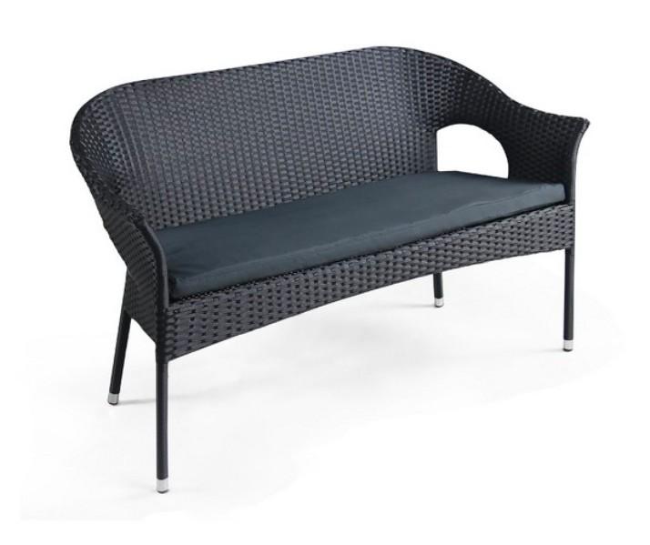 Диван Y-97А-2Плетеная мебель из искусственного ротанга<br><br><br>Артикул: Y-97А-2<br>Материалы: Искусственный ротанг<br>Каркас: Сталь<br>Полный размер: 136x60 В82<br>Комплектация: Диван, подушка для сидения<br>Цвет: Black<br>Изготовление и доставка: 2-3 дня<br>Условия доставки: Бесплатная по Москве до подъезда<br>Условие оплаты: Оплата наличными при получении товара<br>Производство: Китай<br>Производитель: Афина Мебель