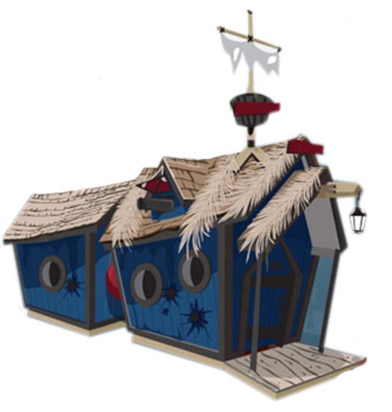 Двойной пиратский домик KidsCrookedHouseДеревянные площадки<br>Размер домика 1: 1200х1800, В2200 (с мачтой 3500), высота двери 1100<br>Размер домика 2: 1200х1800, В2200, высота двери 900<br>Основание: 1200х2400&amp;nbsp;<br><br>Материалы: Основание и крыша - лиственница<br>Комплектация: 7 окон, 2 двери, декоративный высокий чердак с пушкой, треугольный козырек с опорными столбами (крылечко), высокая мачта, с парусом и бочкой, декоративный фонарь<br>Цвет: Синий<br>Примечание: При оформлении заказа необходимо уточнить есть ли возможность для подъезда грузовика-манипулятора к месту установки<br>Изготовление и доставка: От 15 дней<br>Условия доставки: Бесплатная по Москве до подъезда<br>Условие оплаты: Оплата наличными при получении товара<br>Производитель: KidsCrookedHouse