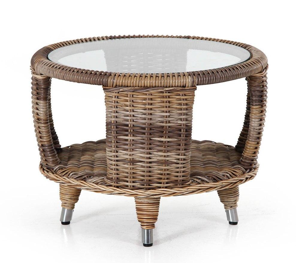 Плетеный стол Evita-Silva brownПлетеная мебель из искусственного ротанга<br>Размер: 60 В45<br><br>Артикул: 5484-60R3<br>Материалы: Искусственный ротанг, прозрачное-высокопрочное стекло<br>Каркас: Алюминиевый<br>Полный размер: &amp;#216;60 В45<br>Цвет: Коричневый<br>Изготовление и доставка: 2-3 дня<br>Условия доставки: Бесплатная по Москве до подъезда<br>Условие оплаты: Оплата наличными при получении товара<br>Производство: Швеция<br>Производитель: Brafab