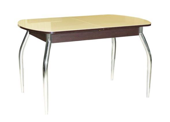Стол обеденный Гала-1Обеденные столы<br>Размер: 110/142х70 В75<br><br>Механизм: Бабочка<br>Материалы: ЛДСП 18 мм., зеркальное стекло 4 мм., хром<br>Полный размер (ДхГхВ): 110/142х70х75<br>Цвет: Венге/Стекло Песочное, Беленый дуб/Стекло черное<br>Изготовление и доставка: 2-3 дня<br>Условия доставки: Бесплатная по Москве до подъезда<br>Условие оплаты: Оплата наличными при получении товара<br>Доставка по МО (за пределами МКАД): 30 руб./км<br>Подъем на лифте: 300 руб.<br>Гарантия: 12 месяцев<br>Производство: Россия<br>Производитель: Гальваник (Дик)