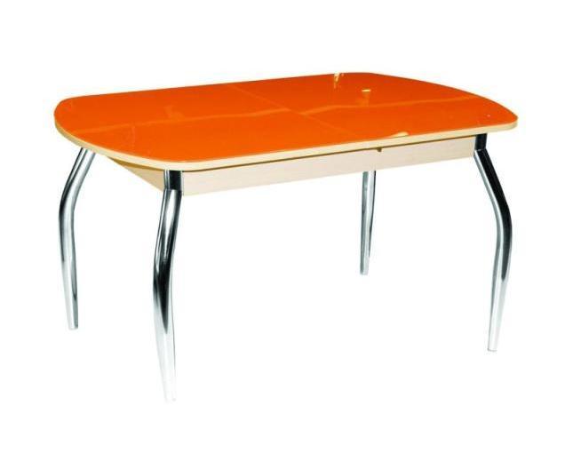Стол обеденный Гала-1Обеденные столы<br>Размер: 110/142х70 В75<br><br>Механизм: Бабочка<br>Материалы: ЛДСП 18 мм., зеркальное стекло 4 мм., хром<br>Полный размер (ДхГхВ): 110/142х70х75<br>Цвет: ЛДСП: Беленый дуб; Стекло: Оранж<br>Изготовление и доставка: 2-3 дня<br>Условия доставки: Бесплатная по Москве до подъезда<br>Условие оплаты: Оплата наличными при получении товара<br>Доставка по МО (за пределами МКАД): 30 руб./км<br>Подъем на лифте: 300 руб.<br>Гарантия: 12 месяцев<br>Производство: Россия<br>Производитель: Гальваник (Дик)
