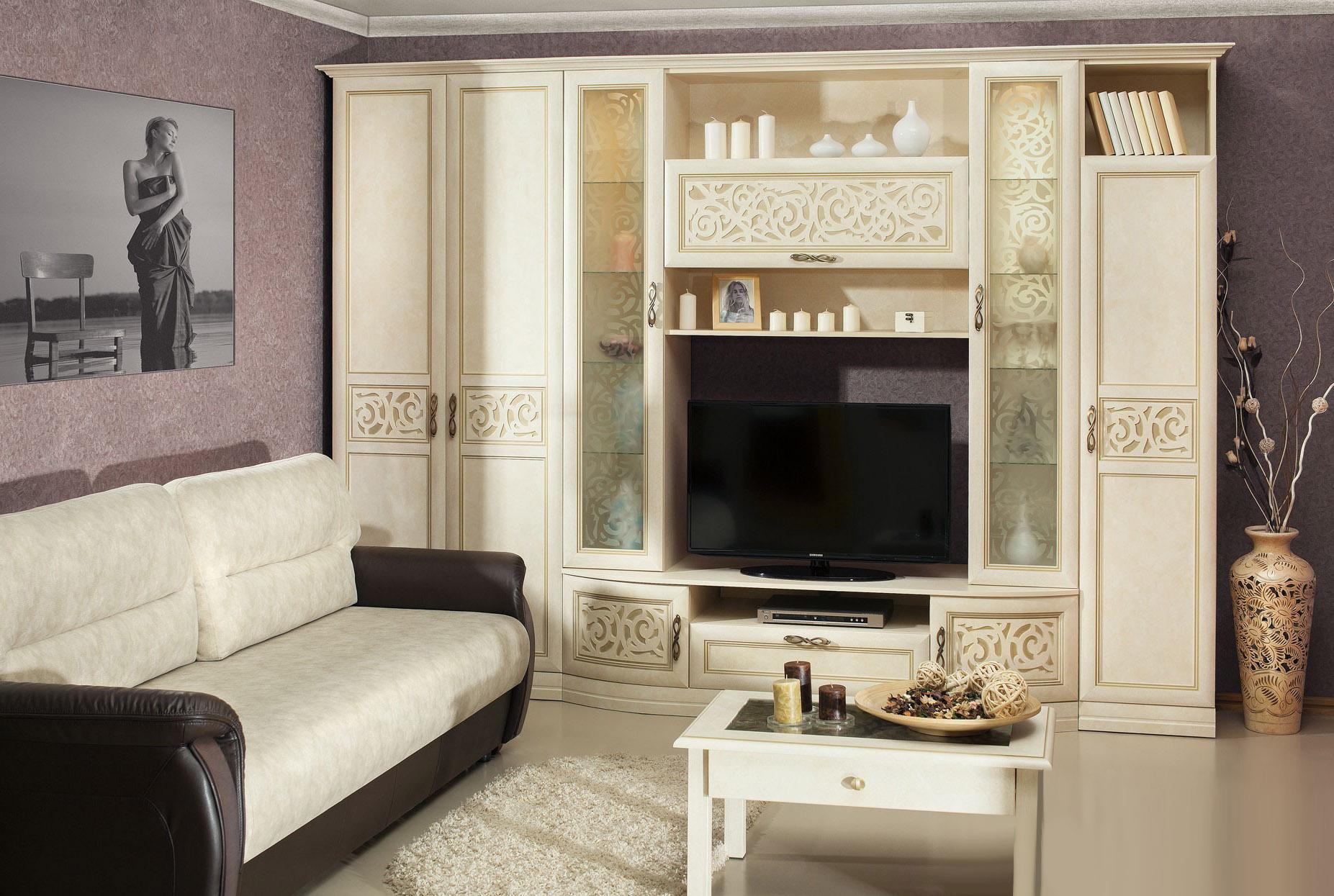 Любимый дом Модульная стенка в гостиную Александрия модульная спальня александрия вариант 2