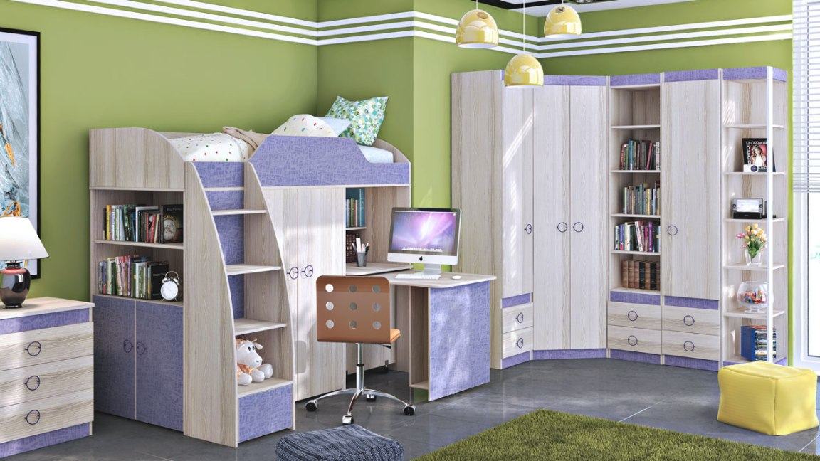 Модульная детская комната Радуга Индиго ГН-84.00.021 шкаф для белья индиго