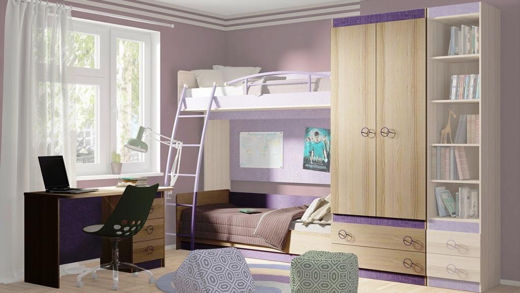Модульная детская комната Индиго №1 ГН-145.001 cтенка для гостиной трия нео пм 106 00 дуб сонома