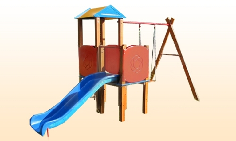 Игровой комплекс ИО 10Д.01.01 Г-0.8Деревянные площадки<br>Дополнительные характеристики:<br>Крепление: бетонируются &amp;laquo;железные штыри&amp;raquo;, которые в дальнейшем прикручиваются к деревянной конструкции<br>Высота: 2,50 м<br>Занимаемая площадь: 2,00 х 4,40 м<br>Скат горки: 1,65 м<br>Высота горки: 0,80 м<br><br>Материалы: клееный брус 0,080 м<br>Вес товара (кг): 130<br>Допустимая нагрузка: 100 кг<br>Комплектация: игровая башня с лестницей (металлические перекладины), горка, качели<br>Примечание: Доставляется в разобранном виде<br>Изготовление и доставка: 2-3 дня<br>Условия доставки: Бесплатная по Москве до подъезда<br>Условие оплаты: Оплата наличными при получении товара<br>Сборка: Без сборки<br>Гарантия: 12 месяцев<br>Производство: Россия<br>Производитель: КМС