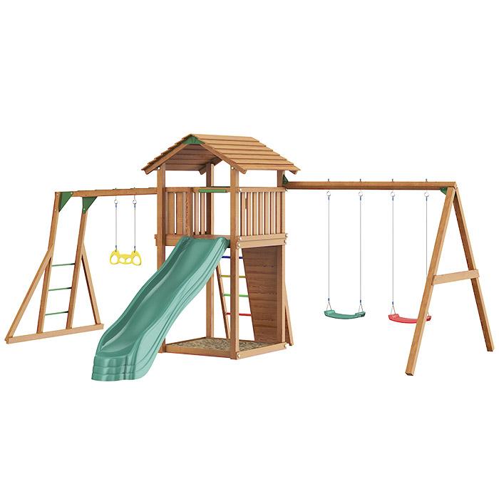 Детский городок Jungle Cottage+Rock+SwingModule Xtra+рукоход с кольцами