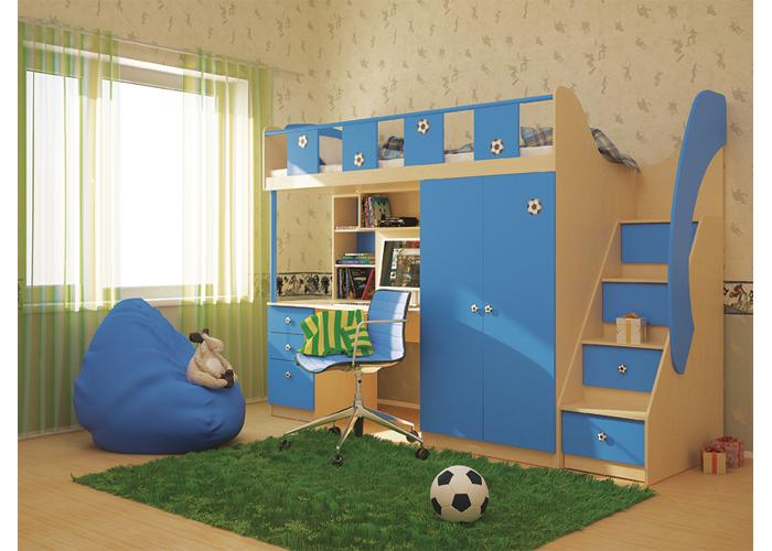 Универсальная детская комната ТаймаутДетские комнаты<br>Размер: 2500х912 В1836<br><br>Материалы: ЛДСП, кромка ПВХ<br>Полный размер: 2500х912 В1836<br>Спальное место: 800х2000<br>Комплектация: Кровать, шкаф, компьютерный стол, лестница<br>Цвет: Голубой<br>Примечание: Ящики стола оснащены направляющими полного выдвижения, что обеспечивает обзор всего ящика. Ручки из эластичного материала<br>Изготовление и доставка: 2-3 дня<br>Условия доставки: Бесплатная по Москве до подъезда<br>Условие оплаты: Оплата наличными при получении товара<br>Подъем на грузовом лифте: 1500 руб.<br>Гарантия: 12 месяцев<br>Производство: Россия, г. Санкт-Петербург<br>Производитель: Сканд (Дик)