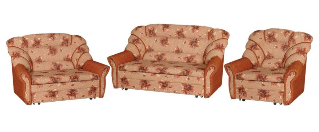 Комплект мягкой мебели Елизавета 3+2+1Комплекты мягкой мебели<br>Размер: диван: 148х98 В101 и 177х98 В101 (сп. м. 110хх196 и 140х196); кресло: 97х98 В101 (сп. м. 56х196)<br><br>Механизм: Выкатной<br>Каркас: Деревянный<br>Полный размер (ДхГхВ): 2-х местный диван: 177х98х101 и 3-х местный: 148х98х101<br>Спальное место: 110х196 и 140х196  длина от стены в раз-м виде 233<br>Доступны другие размеры: Возможно изменение размеров, за каждый 1 см диван +40 руб. max сп. место 148 см, кресло +35 руб. 1 см., max сп. место 80 см., более 80 см считается диваном<br>Размер кресла: 97х98х101<br>Спальное место кресла: 56х196<br>Высота сиденья (см): 42<br>Наполнитель: ППУ высокой плотности (Пенополиуретан)<br>Комплектация: Ящик для белья<br>Примечание: Стоимость указана по минимальной категории ткани<br>Важно: Не изготавливается в иск. коже и иск. замше, так же в коллекциях Людовик, Мега босс, Алоба<br>Изготовление и доставка: 8-10 дней<br>Условия доставки: Бесплатная по Москве до подъезда<br>Условие оплаты: Оплата наличными при получении товара<br>Доставка по МО (за пределами МКАД): 30 руб./км<br>Доставка в пределах ТТК: Доставка в центр Москвы осуществляется ночью, с 22.00 до 6.00 утра<br>Подъем на грузовом лифте: 1300 руб.<br>Подъем без лифта: 650 руб./этаж<br>Сборка: Доставляется в собранном виде, в связи с этим, световой проем двери должен быть не менее 78-80 см., также коридор, простенки и все узкое пространство для заноса мебели должны иметь ширину не менее 1-го метра<br>Гарантия: 12 месяцев<br>Производство: Россия, г. Киров<br>Производитель: Медиал