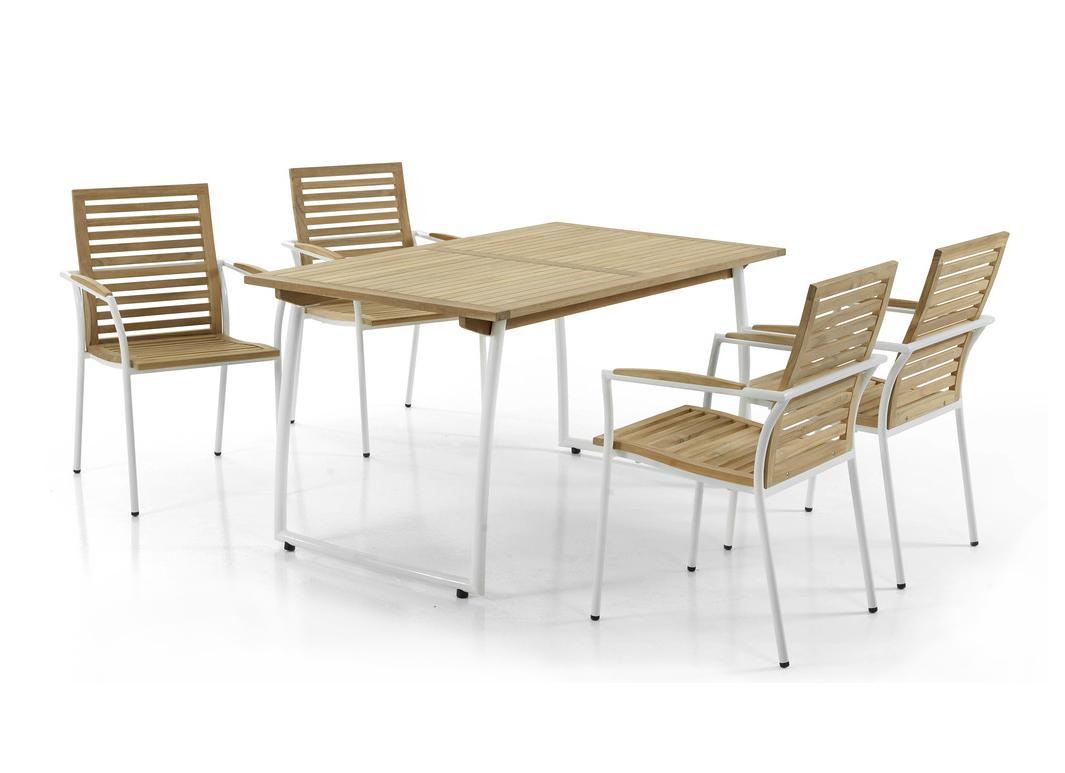 Комплект из тика GrimsbyДеревянная мебель<br>Размер: Стол: 140х85х75; Стул: 54х66х88<br><br>Артикул: Стол: 80586; Стул: 80581<br>Материалы: Массив тика<br>Каркас: Алюминиевый<br>Полный размер (ДхГхВ): Стол: 140х85х75; Стул: 54х66х88<br>Комплектация: Стол, стул 4 шт.<br>Цвет: Натуральный, каркас - белый<br>Изготовление и доставка: 2-3 дня<br>Условия доставки: Бесплатная по Москве до подъезда<br>Условие оплаты: Оплата наличными при получении товара<br>Доставка по МО (за пределами МКАД): 30 руб./км<br>Гарантия: 12 месяцев<br>Производство: Швеция<br>Производитель: Brafab