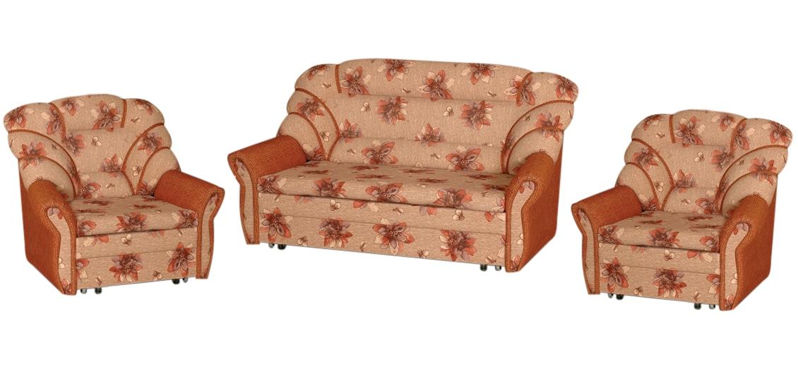 Комплект мягкой мебели Елизавета 3+1+1Комплекты мягкой мебели<br>Размер: диван: 177х98 В101 (сп. м. 140х196); кресло: 97х98 В101 (сп. м. 56х196)<br><br>Механизм: Выкатной<br>Каркас: Деревянный<br>Полный размер (ДхГхВ): 177х98х101<br>Спальное место: 140х196 длина от стены в раз-м виде 233<br>Доступны другие размеры: Возможно изменение размеров, за каждый 1 см диван +40 руб. max сп. место 148 см, кресло +35 руб. 1 см., max сп. место 80 см.,  более 80 см считается диваном<br>Размер кресла: 97х98 В101<br>Спальное место кресла: 56х196<br>Высота сиденья (см): 42<br>Наполнитель: ППУ высокой плотности (Пенополиуретан)<br>Комплектация: Ящик для белья<br>Примечание: Стоимость указана по минимальной категории ткани<br>Важно: Не изготавливается в иск. коже и иск. замше, так же в коллекциях Людовик, Мега босс, Алоба<br>Изготовление и доставка: 8-10 дней<br>Условия доставки: Бесплатная по Москве до подъезда<br>Условие оплаты: Оплата наличными при получении товара<br>Доставка по МО (за пределами МКАД): 30 руб./км<br>Доставка в пределах ТТК: Доставка в центр Москвы осуществляется ночью, с 22.00 до 6.00 утра<br>Подъем на грузовом лифте: 1100 руб.<br>Подъем без лифта: 550 руб./этаж<br>Сборка: Доставляется в собранном виде, в связи с этим, световой проем двери должен быть не менее 78-80 см., также коридор, простенки и все узкое пространство для заноса мебели должны иметь ширину не менее 1-го метра<br>Гарантия: 12 месяцев<br>Производство: Россия, г. Киров<br>Производитель: Медиал