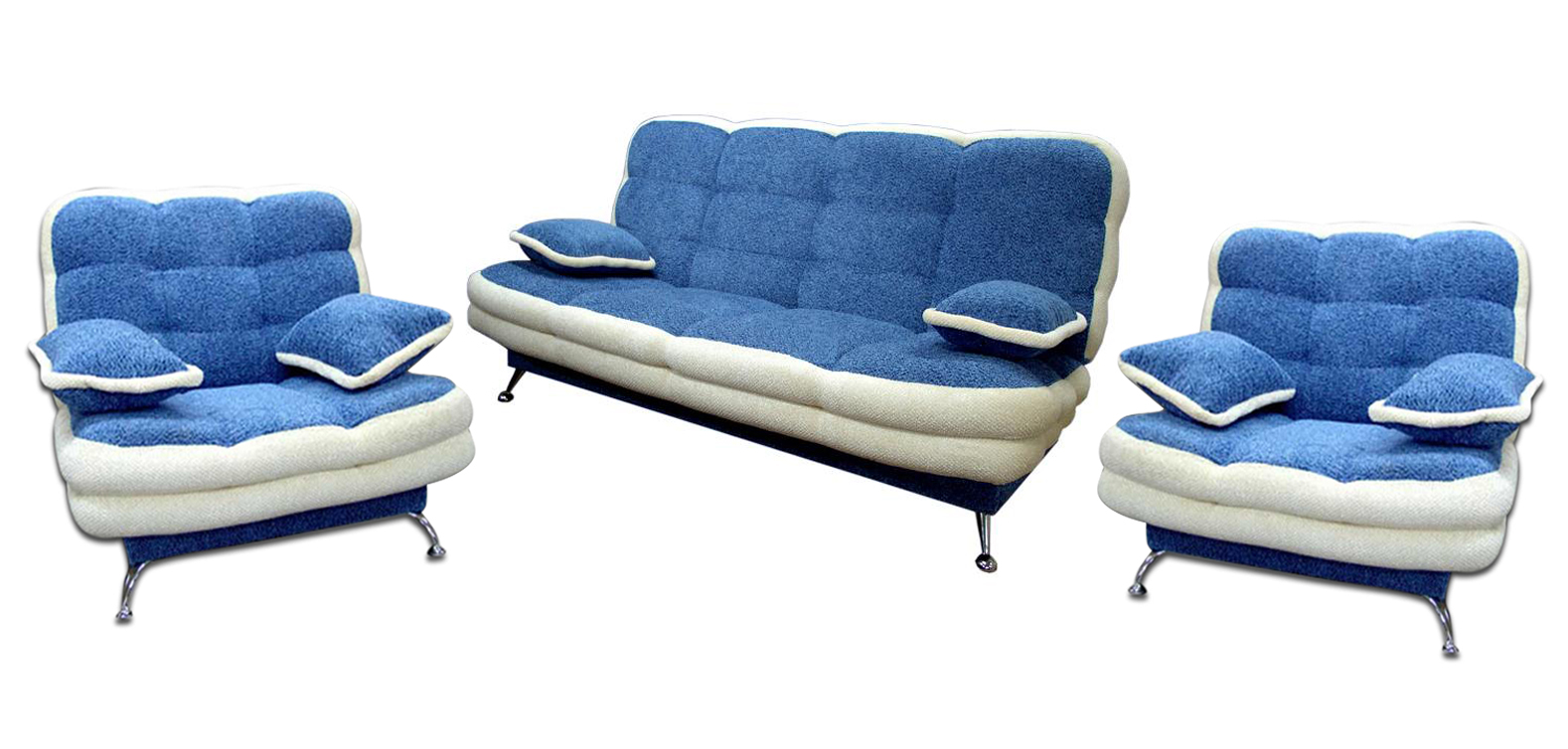Комплект мягкой мебели Вента-1 3+1+1Комплекты мягкой мебели<br>Размер: диван: 210х100 (сп. м. 145х210); кресло: 110х110<br><br>Механизм: Книжка<br>Материалы: Массив сосны, высокопрочная фанера<br>Каркас: Деревянный<br>Полный размер (ДхГхВ): 210х100х100<br>Спальное место: 145х210<br>Размер кресла: 110х110<br>Наполнитель: ППУ высокой плотности (Пенополиуретан)<br>Комплектация: Ящик для белья, декоративные подушки<br>Примечание: Стоимость указана по минимальной категории ткани<br>Изготовление и доставка: 8-10 дней<br>Условия доставки: Бесплатная по Москве до подъезда<br>Условие оплаты: Оплата наличными при получении товара<br>Доставка по МО (за пределами МКАД): 30 руб./км<br>Доставка в пределах ТТК: Доставка в центр Москвы осуществляется ночью, с 22.00 до 6.00 утра<br>Подъем на грузовом лифте: 1100 руб.<br>Подъем без лифта: 550 руб./этаж<br>Сборка: 600 руб.<br>Гарантия: 12 месяцев<br>Производство: Россия<br>Производитель: Утин