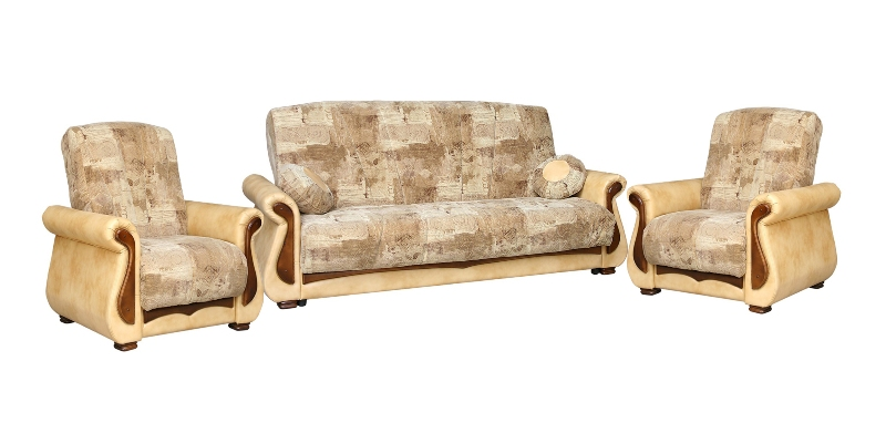 Комплект мягкой мебели Ява 3+1+1Комплекты мягкой мебели<br>Размер: диван: 228х102 (сп.м. 137х188); кресло: 93х95<br><br>Механизм: Книжка<br>Материалы: Массив сосны, высокопрочная фанера<br>Каркас: Деревянный<br>Полный размер: 228х102<br>Спальное место: 137х188х42<br>Размер кресла: 95х95х106<br>Наполнитель: Пружинный блок Боннель, короб ППУ по периметру<br>Комплектация: Ящик для белья, декоративные подушки.<br>Ткань: Образец по фото в ткани сп.место выведена, подлокотники и царга Oregon Antik 38 (иск. кожа, пост-к Союз-М), наличие и стоимость уточняйте у менеджера<br>Примечание: Стоимость указана по минимальной категории ткани<br>Изготовление и доставка: 8-10 дней<br>Условия доставки: Бесплатная по Москве до подъезда<br>Условие оплаты: Оплата наличными при получении товара<br>Доставка по МО (за пределами МКАД): 30 руб./км<br>Доставка в пределах ТТК: Доставка в центр Москвы осуществляется ночью, с 22.00 до 6.00 утра<br>Подъем на грузовом лифте: 1100 руб.<br>Подъем без лифта: 550 руб./этаж<br>Сборка: 600 руб.<br>Гарантия: 12 месяцев<br>Производство: Россия<br>Производитель: Утин