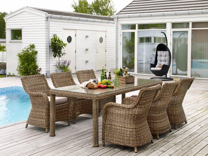 Комплект плетеной мебели CatherineПлетеная мебель из искусственного ротанга<br>Размер: Стол:  220х95 В77; Кресло: 58х49 В89<br><br>Артикул: Стол 5546-62, Кресло 5541-62-23<br>Материалы: Искусственный ротанг, высокопрочное стекло<br>Каркас: Алюминиевый<br>Полный размер: Стол:  220х95 В77; Кресло: 58х49 В89<br>Наполнитель: ППУ высокой плотности (Пенополиуретан)<br>Комплектация: Стол, кресло 6 шт., подушки<br>Цвет: Ротанг-натуральный (цвет), Ткань-бежевая<br>Изготовление и доставка: 2-3 дня<br>Условия доставки: Бесплатная по Москве до подъезда<br>Условие оплаты: Оплата наличными при получении товара<br>Производство: Швеция<br>Производитель: Brafab