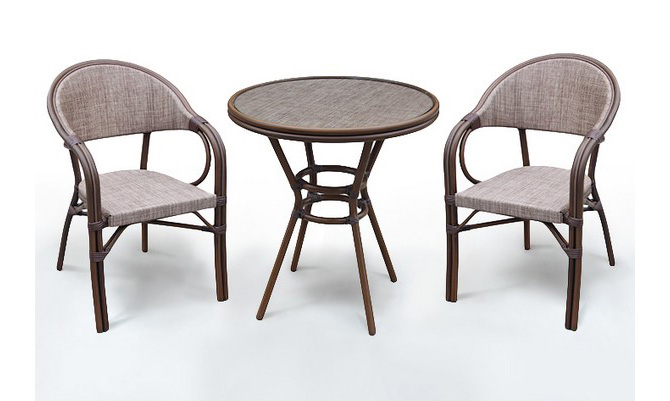 Комплект мебели из искусственного ротанга 2+1 А1007-D2003Плетеная мебель из искусственного ротанга<br>Стол: D70 В74, кресло: 57х57 В83<br><br>Артикул: А1007-D2003<br>Материалы: Искусственный ротанг, стекло закаленное - 5 мм, столешница текстилен 4х4<br>Каркас: Алюминий D28х1,5 мм с полимерным покрытием<br>Полный размер: Стол: D70 В74, кресло: 57х57 В83<br>Комплектация: 1 стол, 2 кресла<br>Цвет: Cappuccino<br>Изготовление и доставка: 2-3 дня<br>Условия доставки: Бесплатная по Москве до подъезда<br>Условие оплаты: Оплата наличными при получении товара<br>Производство: Китай<br>Производитель: Афина Мебель