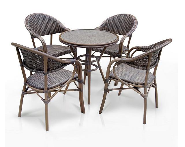Комплект мебели из искусственного ротанга 4+1 А1007- D2003SRПлетеная мебель из искусственного ротанга<br>Стол: D70 В74, кресло: 56х62 В84<br><br>Артикул: А1007- D2003SR<br>Материалы: Искусственный ротанг, стекло закаленное - 5 мм, столешница текстилен 4х4<br>Каркас: Алюминий D28х1,3 мм с полимерным покрытием<br>Полный размер: Стол: D70 В74, кресло: 56х62 В84<br>Комплектация: 1 стол, 4 кресла<br>Цвет: Brown<br>Изготовление и доставка: 2-3 дня<br>Условия доставки: Бесплатная по Москве до подъезда<br>Условие оплаты: Оплата наличными при получении товара<br>Производство: Китай<br>Производитель: Афина Мебель