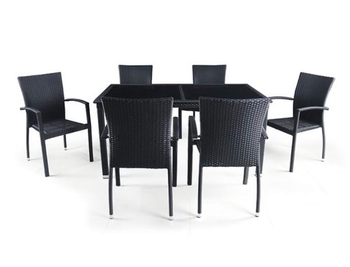 Комплект мебели из искусственного ротанга 6+1 T246A Y-274AПлетеная мебель из искусственного ротанга<br><br><br>Артикул: T246A Y-274A<br>Материалы: Искусственный ротанг, стекло закаленное - 6 мм<br>Каркас: Сталь<br>Полный размер: Стол: 160x90 В75, стул: 57x60 В92<br>Комплектация: 1 стол, 6 стульев<br>Цвет: Black<br>Изготовление и доставка: 2-3 дня<br>Условия доставки: Бесплатная по Москве до подъезда<br>Условие оплаты: Оплата наличными при получении товара<br>Производство: Китай<br>Производитель: Афина Мебель
