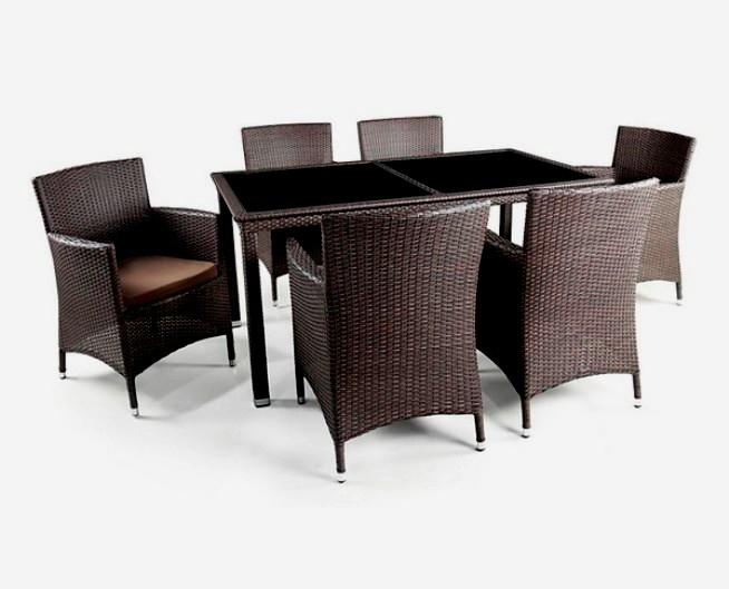 Комплект мебели из искусственного ротанга 6+1 T246B Y-189BПлетеная мебель из искусственного ротанга<br><br><br>Артикул: T246B Y-189B<br>Материалы: Искусственный ротанг, стекло закаленное - 6 мм<br>Каркас: Сталь<br>Полный размер: Стол: 160x90 В75; кресло: 60x63 В87<br>Комплектация: 1 стол, 6 кресел<br>Цвет: Brown<br>Изготовление и доставка: 2-3 дня<br>Условия доставки: Бесплатная по Москве до подъезда<br>Условие оплаты: Оплата наличными при получении товара<br>Производство: Китай<br>Производитель: Афина Мебель