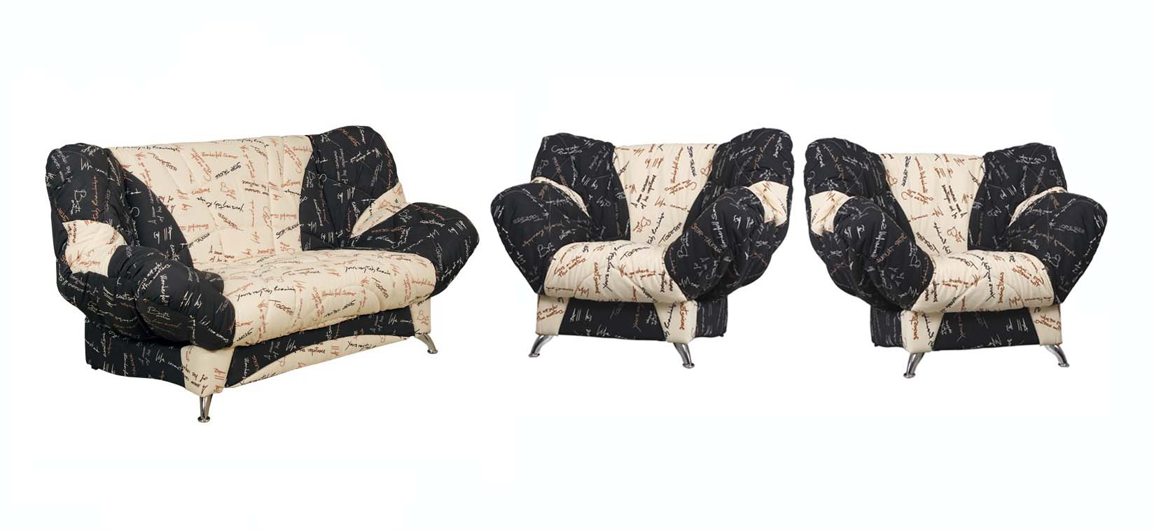Комплект мягкой мебели Лагуна-2Комплекты мягкой мебели<br>Размер: 213х95х100 сп.место: 213х130<br><br>Механизм: Клик-кляк<br>Материалы: Хвойный и березовый брус, ЛДСП, фанера<br>Каркас: Металлический<br>Полный размер (ДхГхВ): 213х95х100<br>Спальное место: 213х130<br>Размер кресла: 150х95х100<br>Наполнитель: Пружинный блок с настилом из пенополиуретана в чехле<br>Комплектация: Диван укомплектован ящиклм для белья, металлическая рамка с ортопедическими латами<br>Съемный чехол: Выполнен из мебельной ткани, простеганной на синтетическом волокне (периотек)<br>Примечание: Стоимость указана по минимальной категории ткани<br>Изготовление и доставка: 14-20 дней<br>Условия доставки: Бесплатная по Москве до подъезда<br>Условие оплаты: Оплата наличными при получении товара<br>Доставка по МО (за пределами МКАД): 35 руб./км. Доставка за МКАД, за пределы трассы А-107 (ММК)<br>Доставка в пределах ТТК: +1000 руб. Доставка в центр Москвы осуществляется ночью, с 22.00 до 7.00 утра<br>Подъем на грузовом лифте: 3% от стоимости изделия<br>Подъем без лифта: 2% от стоимости изделия за 1 этаж<br>Сборка: 600 руб.<br>Гарантия: 18 месяцев<br>Производство: Россия<br>Производитель: NiK