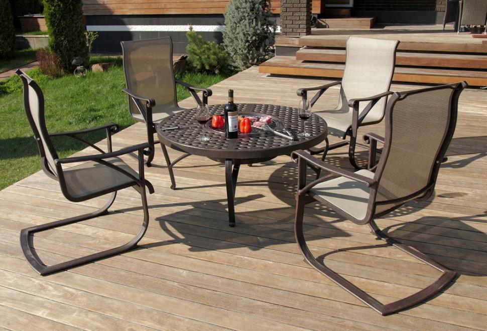 Комплект мебели из литого алюминия ЭтнаМеталлическая мебель<br>Размер: Кресло: 51х55х106; Стол: диаметр 121, диаметр чаши 56, высота 56<br><br>Материалы: Литой алюминий<br>Полный размер: Кресло: 51х55х106; Стол: диаметр 121, диаметр чаши 56, высота 56<br>Высота подлокотника (см): 55<br>Комплектация: Кресло 4 шт., стол<br>Цвет: Античная бронза<br>Изготовление и доставка: 2-3 дня<br>Условия доставки: Бесплатная по Москве до подъезда<br>Условие оплаты: Оплата наличными при получении товара<br>Доставка по МО (за пределами МКАД): 30 руб./км<br>Гарантия: 12 месяцев<br>Производство: Китай<br>Поставщик: Besta Fiesta