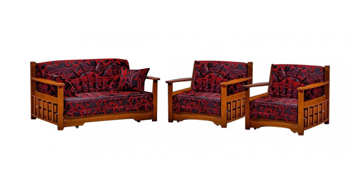Комплект мягкой мебели Акила с деревянными подлокотниками