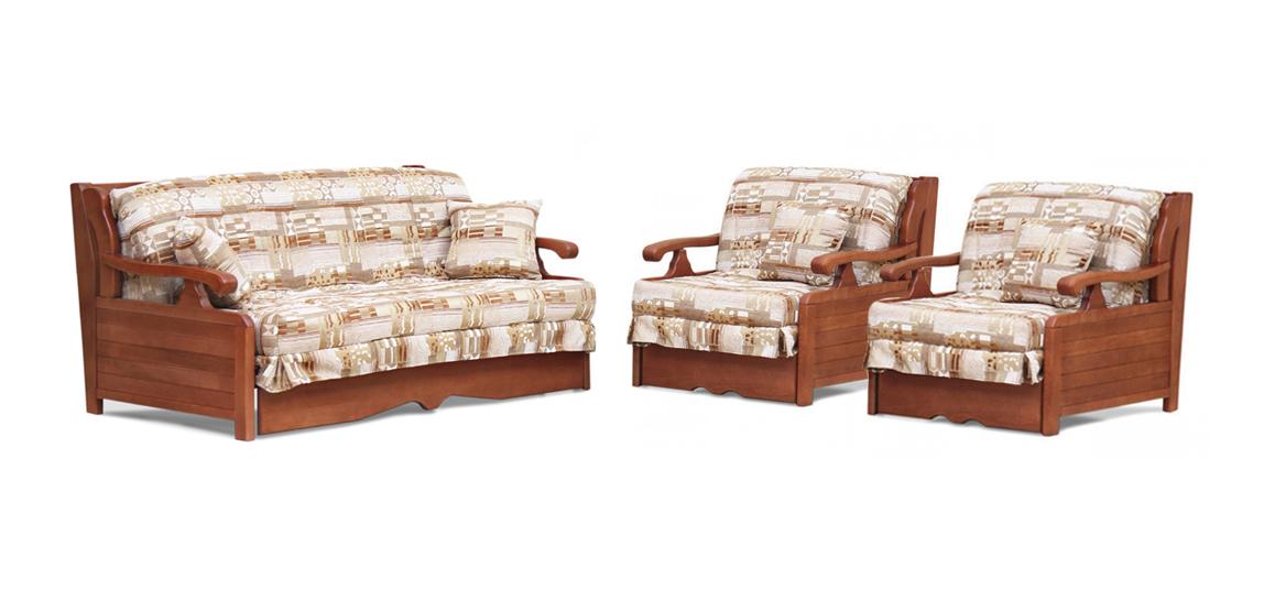 Комплект мягкой мебели Арктур с деревянными подлокотниками