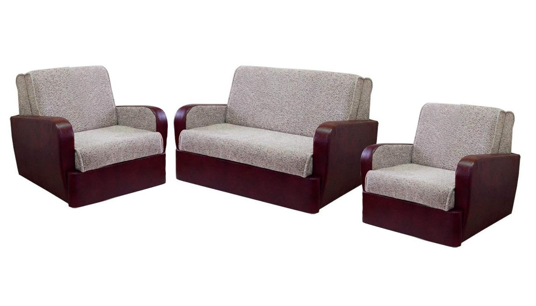 Комплект мягкой мебели Блюз 5-АККомплекты мягкой мебели<br>Размер: 127х106x95<br><br>Механизм: Аккордеон<br>Материалы: Массив сосны, фанера<br>Каркас: Деревянный<br>Полный размер (ДхГхВ): 127х106x95<br>Спальное место: 102х193<br>Размер кресла: 87x106х95<br>Спальное место кресла: 62х193<br>Наполнитель: ППУ высокой плотности (Пенополиуретан)<br>Комплектация: Ящик для белья<br>Примечание: Стоимость указана по минимальной категории ткани<br>Изготовление и доставка: 6-10 дней, дни доставок среда и суббота<br>Условия доставки: Бесплатная по Москве до подъезда<br>Условие оплаты: Оплата наличными при получении товара<br>Доставка по МО (за пределами МКАД): 30 руб./км<br>Доставка в пределах ТТК: Доставка в центр Москвы осуществляется ночью, с 22.00 до 6.00 утра<br>Подъем на грузовом лифте: 1100 руб.<br>Подъем без лифта: 550 руб./этаж<br>Сборка: 600 руб.<br>Гарантия: 12 месяцев<br>Производство: Россия<br>Производитель: МДВ