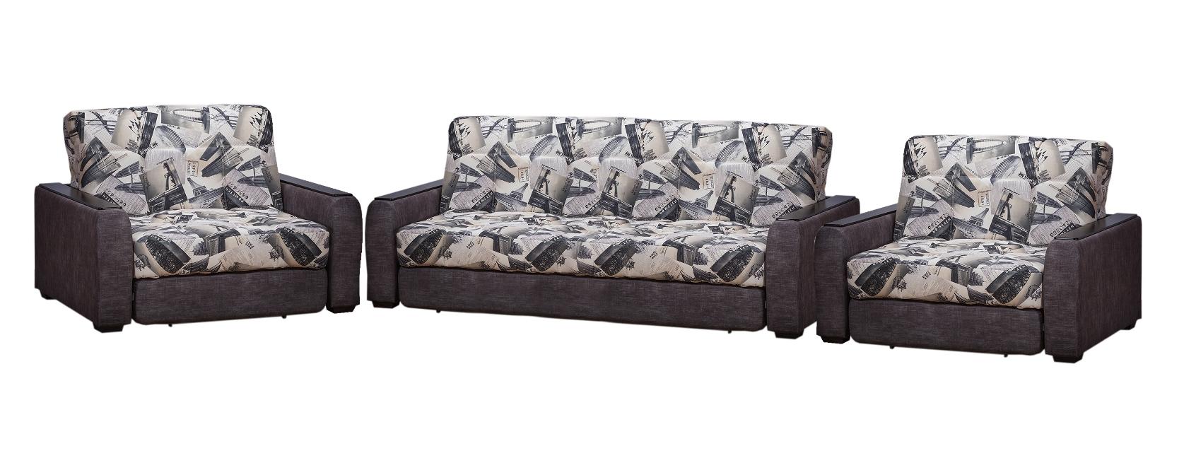 Комплект мягкой мебели ГадарКомплекты мягкой мебели<br>Размер дивана: 160х115х95<br>Размер кресла: 110х115х95<br><br>Механизм: Аккордеон<br>Каркас: Металлический<br>Полный размер (ДхГхВ): 160х115х95<br>Спальное место: 120х200<br>Доступны другие размеры: 180/200/220х115х95 (сп. место: 140/155/180х200)<br>Размер кресла: 110/120/130х115х95 (сп. место: 70/80/90х200)<br>Наполнитель: ППУ высокой плотности, Ортопедическое основание<br>Комплектация: Ящик для белья<br>Примечание: Стоимость указана по минимальной категории ткани. Мебель может быть изготовлена в двух исполнениях: СТАНДАТ и ЛЮКС<br>Изготовление и доставка: 5-14 рабочих дней, в зависимости от обивки<br>Условия доставки: Бесплатная по Москве до подъезда<br>Условие оплаты: Оплата наличными при получении товара<br>Доставка по МО (за пределами МКАД): 40 руб./км<br>Доставка в пределах ТТК: Доставка в центр Москвы осуществляется ночью, с 22.00 до 6.00 утра<br>Подъем на грузовом лифте: 1400 руб.<br>Подъем без лифта: На первый этаж 1000 руб., выше 750 руб./этаж<br>Сборка: 800 руб.<br>Гарантия: 12 месяцев<br>Производство: Россия<br>Производитель: Фиеста