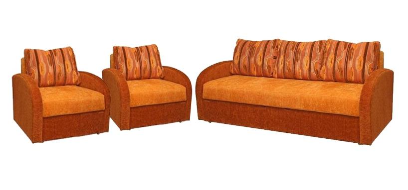 Комплект мягкой мебели КалистаКомплекты мягкой мебели<br>Размер: диван: 103х215 В100 (сп. м. 150х192), кресло: 90х100х90 (сп. м. 60х202)<br><br>Механизм: Еврокнижка<br>Полный размер: 103х215 В100<br>Спальное место: 150х192<br>Размер кресла: 75х75<br>Наполнитель: Пружинный блок, короб ППУ по периметру<br>Комплектация: Ящик для белья<br>Примечание: Стоимость указана по минимальной категории ткани<br>Изготовление и доставка: 8-10 дней<br>Условия доставки: Бесплатная по Москве до подъезда<br>Условие оплаты: Оплата наличными при получении товара<br>Доставка по МО (за пределами МКАД): 30 руб./км<br>Доставка в пределах ТТК: Доставка в центр Москвы осуществляется ночью, с 22.00 до 6.00 утра<br>Подъем на грузовом лифте: 1100 руб.<br>Подъем без лифта: 550 руб./этаж<br>Сборка: 300 руб. в день доставки, заказать сборку Вы можете, если у Вас оформлена услуга подъем/занос изделия в помещение<br>Гарантия: 12 месяцев<br>Производство: Россия<br>Производитель: Mebelus