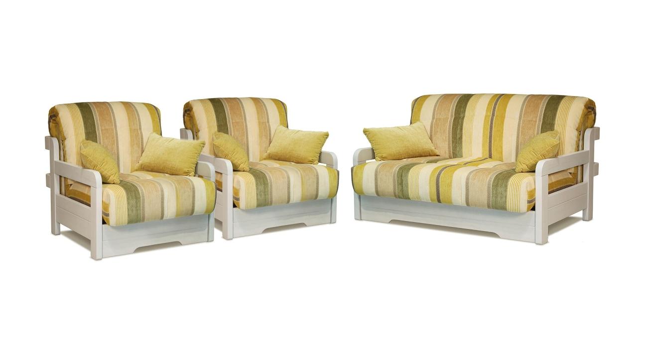 Комплект мягкой мебели Капелла с деревянными подлокотниками