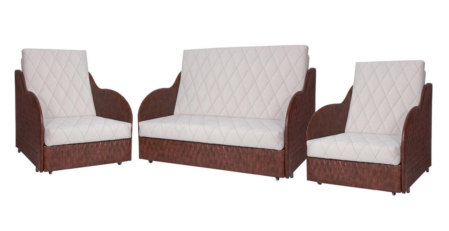 Комплект мягкой мебели Колхида 2Комплекты мягкой мебели<br>Размер: 137х102х102<br><br>Механизм: Выкатной<br>Каркас: Деревянный<br>Полный размер (ДхГхВ): 137х102х102<br>Спальное место: 130х192<br>Доступны другие размеры: Диван: 167х102х102 (сп.м.160х192)<br>Размер кресла: 72х102х102<br>Спальное место кресла: 65х192<br>Высота сиденья (см): 39<br>Наполнитель: ППУ высокой плотности (Пенополиуретан)<br>Комплектация: Ящик для белья<br>Вид ножек: Металлические, хромированные+ролики<br>Примечание: Стоимость указана по минимальной категории ткани<br>Изготовление и доставка: 6-10 дней, дни доставок среда и суббота<br>Условия доставки: Бесплатная по Москве до подъезда<br>Условие оплаты: Оплата наличными при получении товара<br>Доставка по МО (за пределами МКАД): 30 руб./км<br>Доставка в пределах ТТК: Доставка в центр Москвы осуществляется ночью, с 22.00 до 6.00 утра<br>Подъем на грузовом лифте: 1100 руб.<br>Подъем без лифта: 550 руб./этаж<br>Сборка: 600 руб.<br>Гарантия: 12 месяцев<br>Производство: Россия<br>Производитель: МДВ