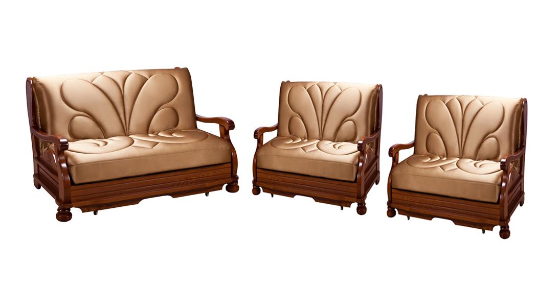 Комплект мягкой мебели Милан с деревянными подлокотниками