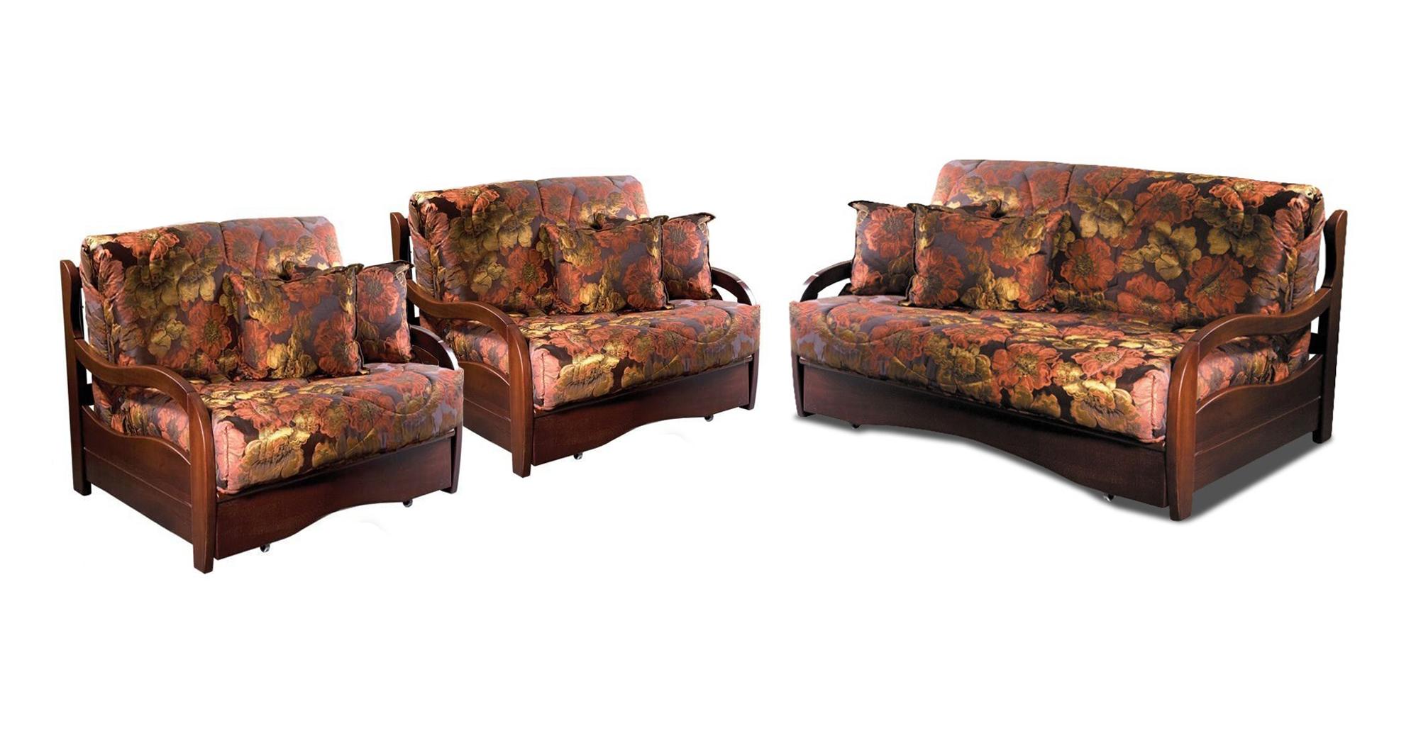 Комплект мягкой мебели Нирвана с деревянными подлокотниками
