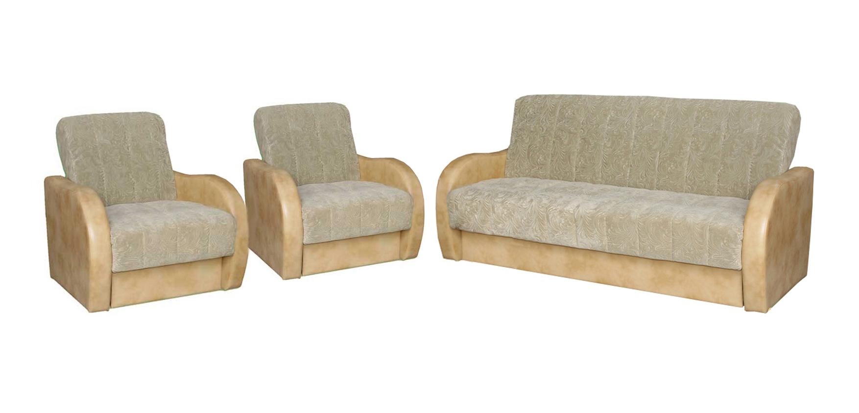 Комплект мягкой мебели Прима-Люкс 3+1+1Комплекты мягкой мебели<br>Размер: диван: 214х95 (сп. м. 133х190); кресло: 84х90<br><br>Механизм: Книжка<br>Каркас: Деревянный<br>Полный размер: 214х95<br>Спальное место: 133х190<br>Размер кресла: 84х90<br>Наполнитель: Пружинный блок, ППУ высокой плотности<br>Комплектация: Ящик для белья<br>Ткань: Образец по фото в ткани сп.место выведена, подлокотники и царга Oregon Antik 38 (иск. кожа, пост-к Союз-М), наличие и стоимость уточняйте у менеджера<br>Примечание: Стоимость указана по минимальной категории ткани<br>Изготовление и доставка: 8-10 дней<br>Условия доставки: Бесплатная по Москве до подъезда<br>Условие оплаты: Оплата наличными при получении товара<br>Доставка в пределах ТТК: Строго после 22:00 (центр Москвы)<br>Подъем на грузовом лифте: 1100 руб.<br>Подъем без лифта: 550 руб./этаж<br>Сборка: 600 руб.<br>Гарантия: 12 месяцев<br>Производство: Россия<br>Производитель: Утин