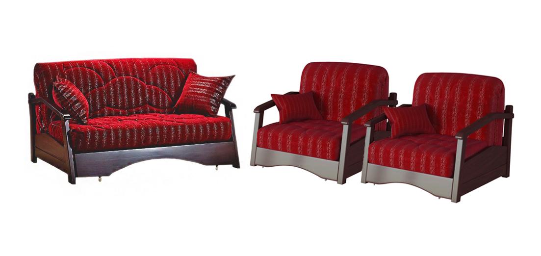 Комплект мягкой мебели Регул  с деревянными подлокотниками