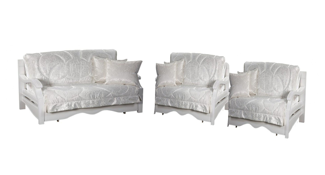 Комплект мягкой мебели Тефия с деревянными подлокотниками